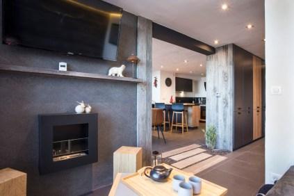 Appartement alpin (Les Arcs 1800) - Coin cheminée éthanol - Appartement Les Arcs Vue Mont-Blanc - Thomas Ouf - Source Studio - Architecte d'intérieur à Aix-les-Bains en Savoie