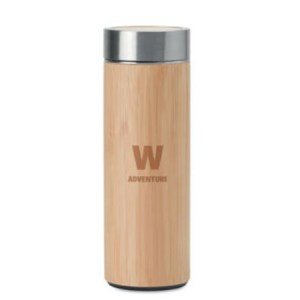 Batumi Stainless steel mug with bamboo cover