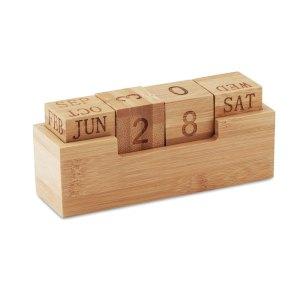 Promotional Bamboo block perpetual Desktop Calendar