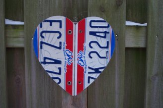 Recycled License Plate Heart Wall Hanging