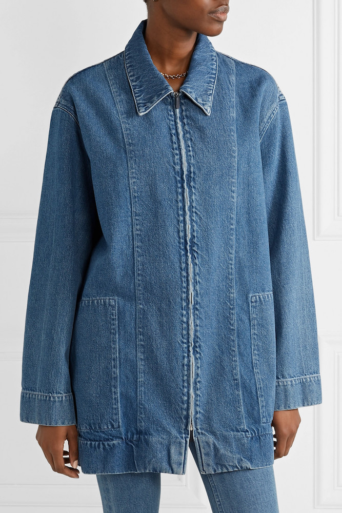 The best denim gifts for women. The Row puts a designer twist on the workwear trend with this paneled zip-front jacket. Slouchy shoulders and large pockets emphasize the jacket's oversized silhouette.