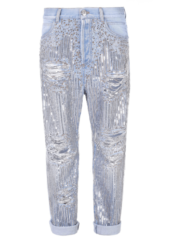 Here are some denim pieces featuring studs, rhinestones and other glam accents to wear on New Year's.