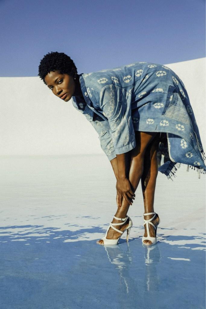 A long indigo-dyed coat from the new Sunu womenswear line.