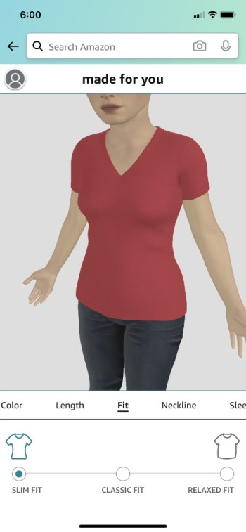 Users of Amazon Fashion's Made for You platform can see how their T-shirt looks on their digital twin prior to buying.