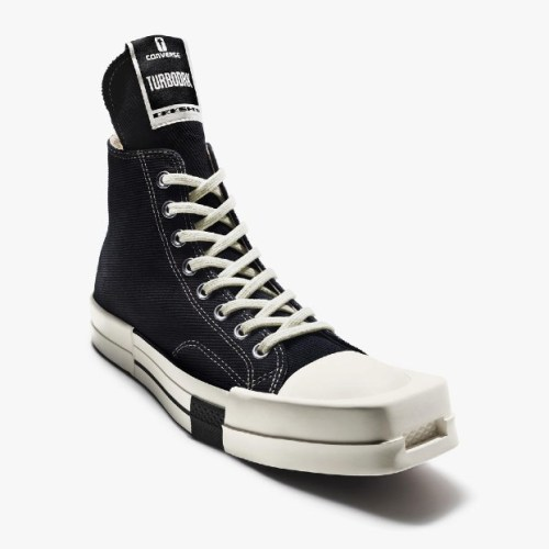 Rick Owens redesigned Converse's Chuck 70 for his Fall 2021 show, giving it a squared-off toe.