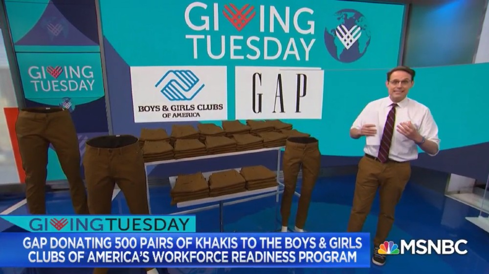 In December, Gap teamed with Kornacki in donating khakis to youths in the Boys and Girls Clubs of America.