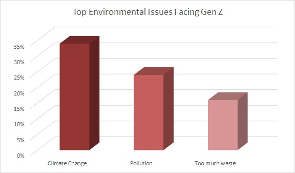 Gen Z consumers in particular put environmental concerns like climate change, pollution and waste at the top of their list of challenges.