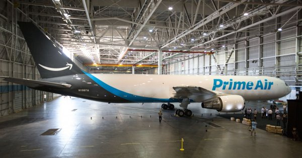 Amazon One branded cargo airplane