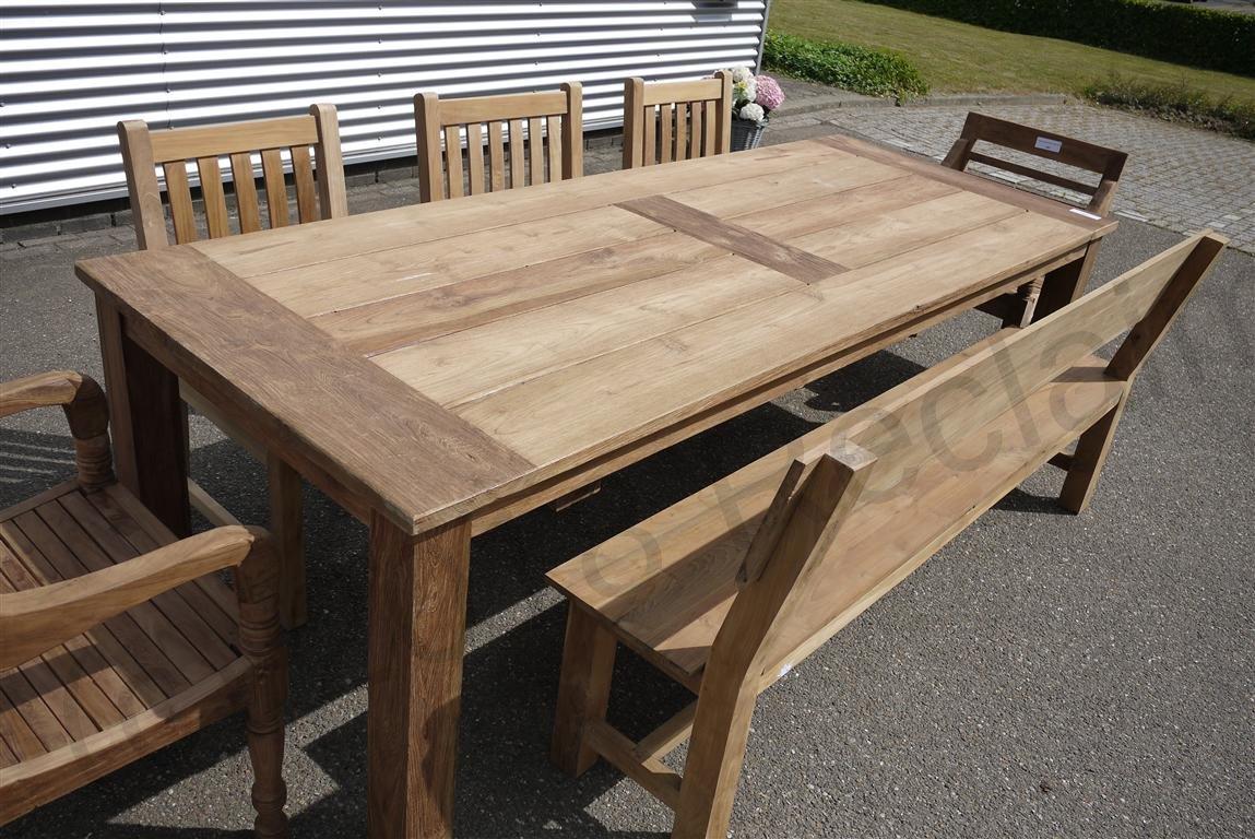 Teak garden table 260 x 100 cm   Reclaimed Teak Furniture