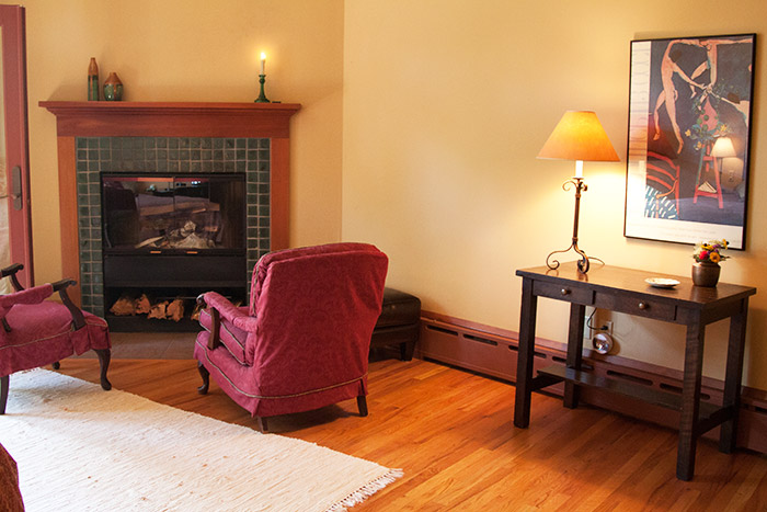 View of the fireplace in Room 2
