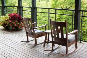 Rocking chairs at Sourwood Inn