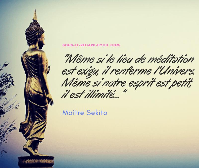 Même si le lieu de méditation est exigu, il renferme l'Univers. Même si notre esprit est petit, il est illimité ...