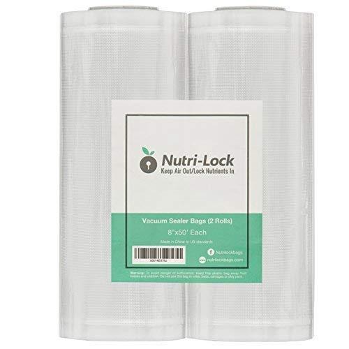 "2 Pack Freezer Fresh 8/"" x 50/' Commercial Grade Vacuum Sealer Rolls Food Rolls"