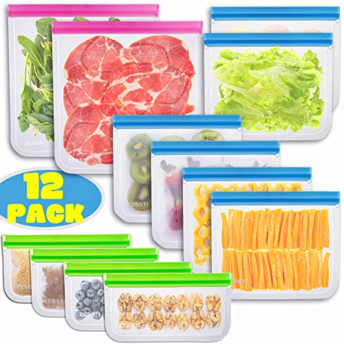 Sous Vide Bags,Reusable Vacuum Food Sealer Bags,12pcs Food Storage Freezer Bags