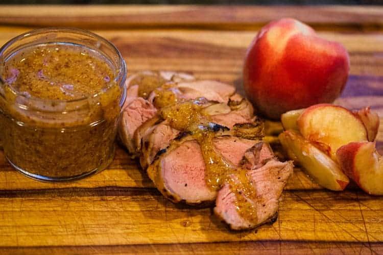 Pork Tenderloin w/ Peach Mustard BBQ Sauce