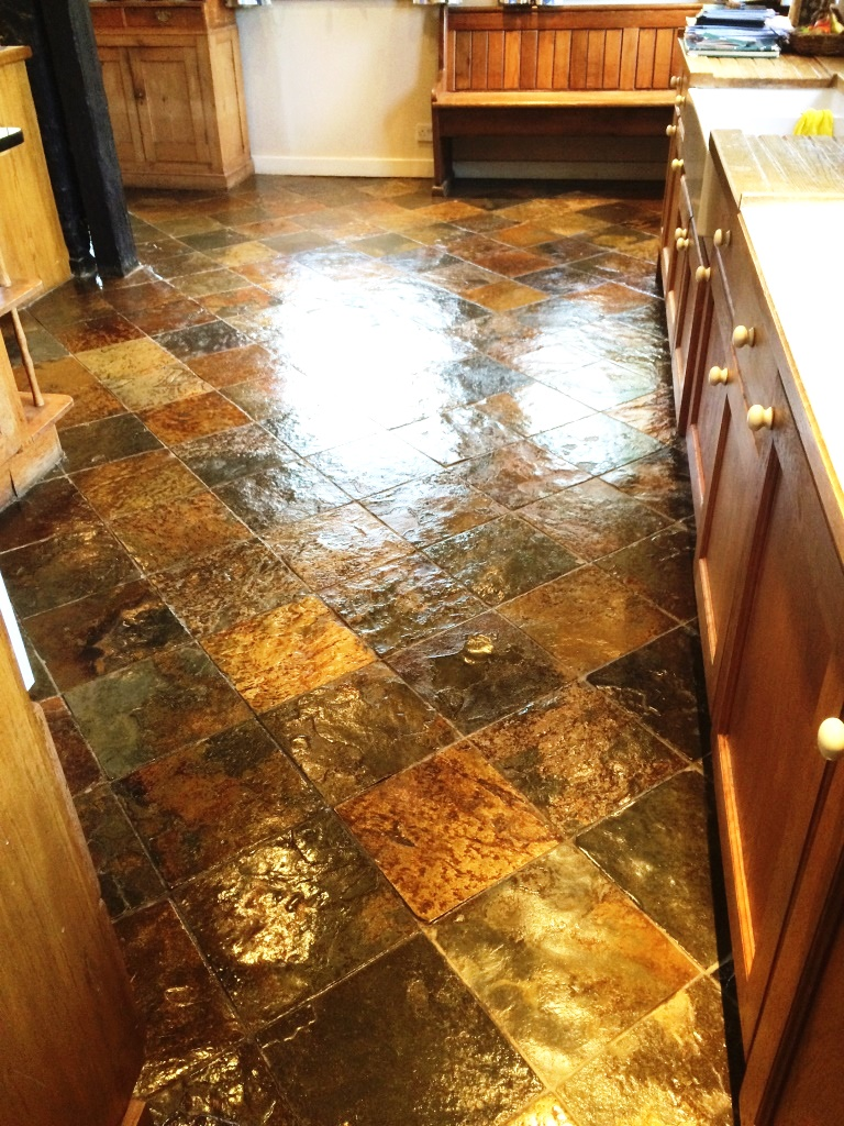 Slate Tiled Kitchen Farmhouse Floor After Sealing in Little Hampden