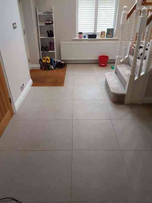 Porcelain Tile and Grout Before Cleaning Beaconsfield Hallway