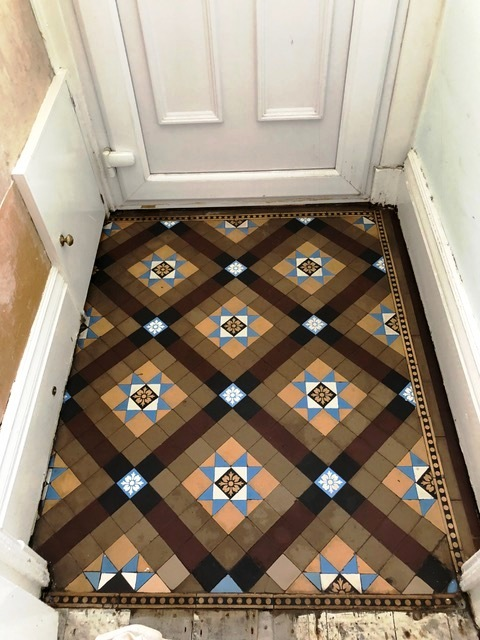 Small Victorian Tiled Vestibule After Cleaning Kendal