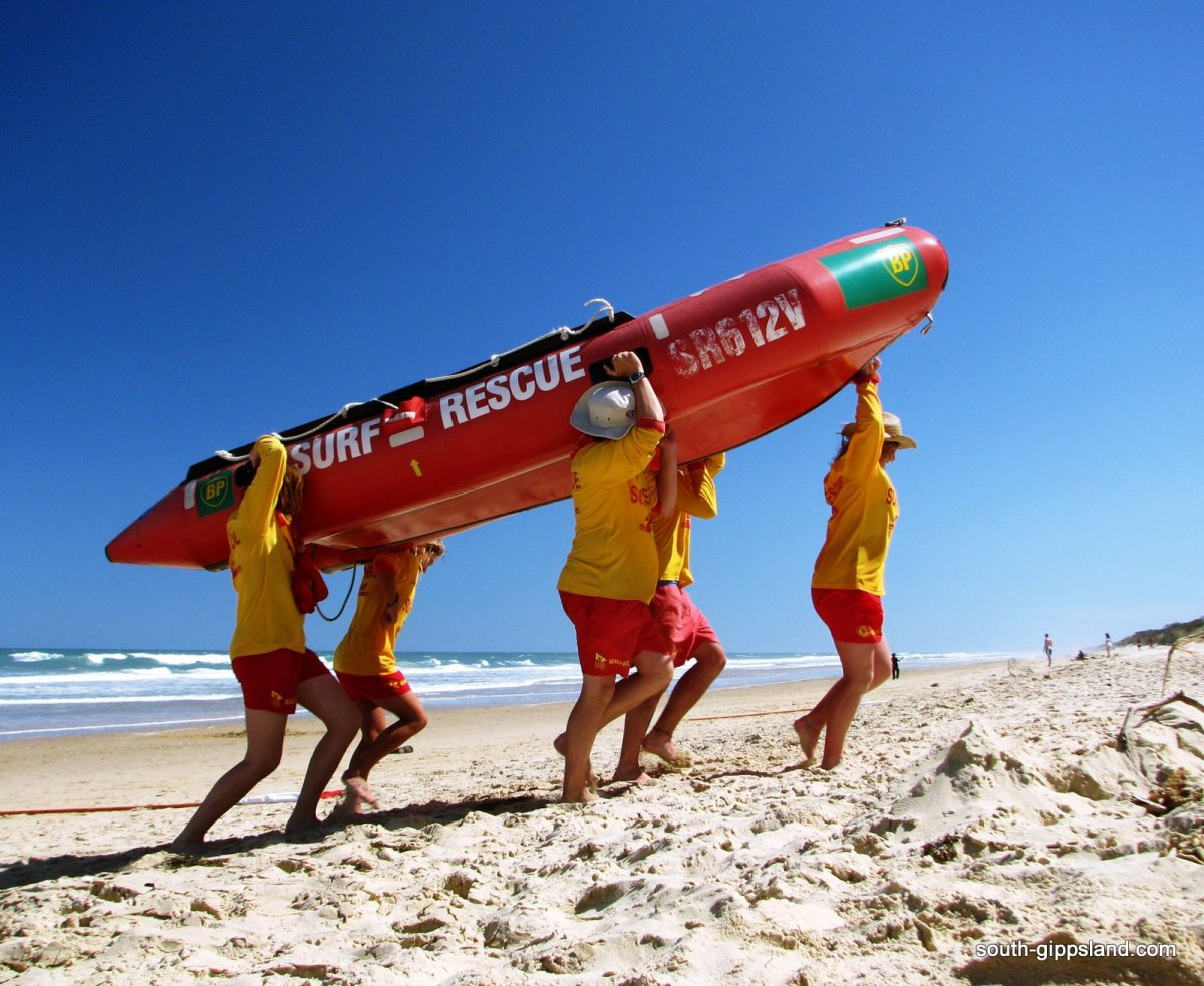 lifeguards bringing in the life boat at Woodside beach