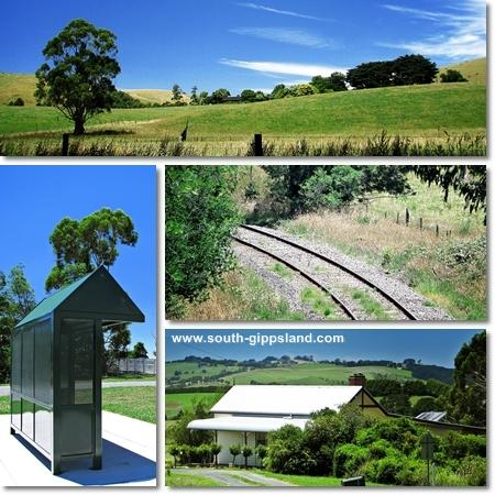 pictures of Bena railway line, farmland, bus stop and local streets