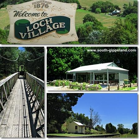 pictures of the Loch Village sign, suspension bridge, barbecue area and South Gippsland Tourist Railway station.
