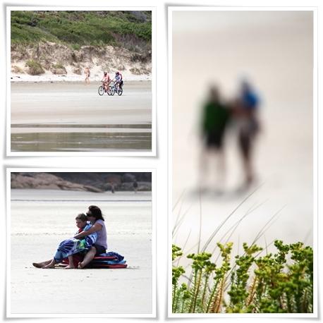 people riding bikes, sitting and walking on the beach at Norman Bay Wilsons Prom National Park