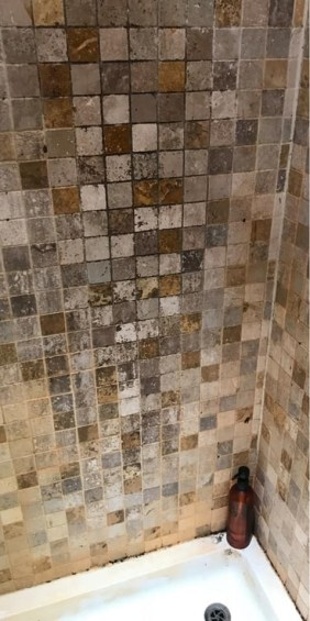 Travertine Tiled Shower Enclosure Before Cleaning Totley