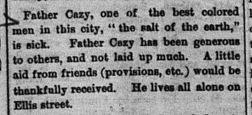William Cazey Obituary. 1881. Commercial.