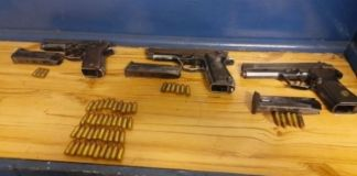 Suspect arrested with illegal firearms, Klerksdorp. Photo: SAPS