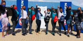 Phakamani learners recevied their hygiene packs to help keep them in school over their menstral cycles