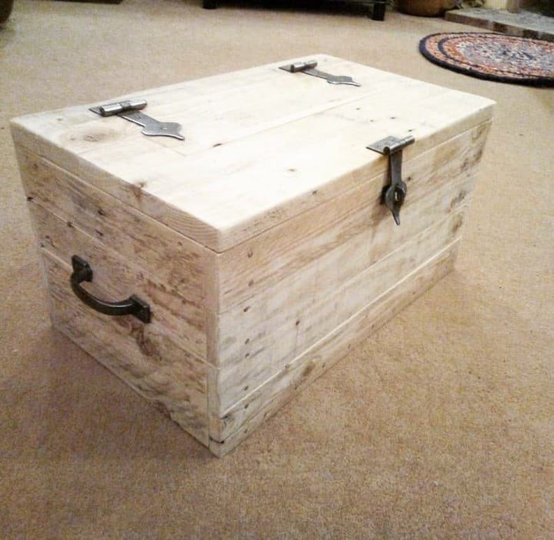 handmade wooden chest with storage toy box blanket box coffee table rustic style made with reclaimed pallet wood