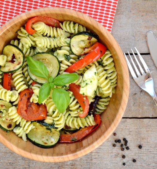 Recept Fusilli met pesto en gegrilde groenten