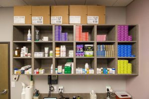 Medications and natural supplements are neatly organized for easy access.