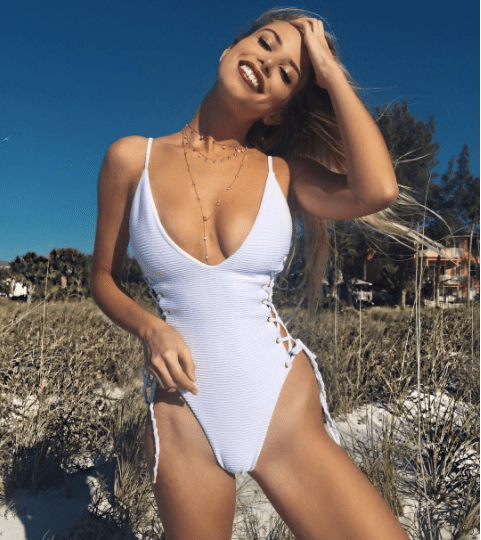 Blue Life White Jacquard Roped Up One Piece   http://bit.ly/2hSEnQw