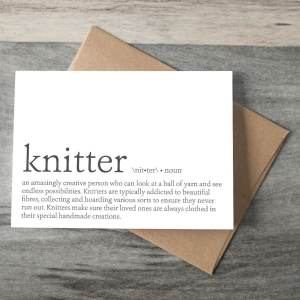 Knitter Definition Knitting Themed Greeting Card