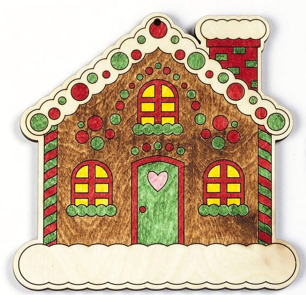 Color your own Gingerbread House Ornament