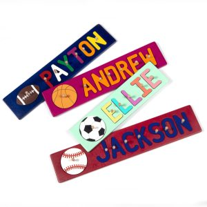 Sports Themed Painted Base Personalized Name Peg Puzzles