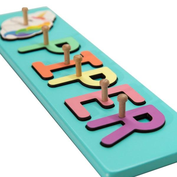 Pastel Turquoise Painted Base Personalized Name Peg Puzzle