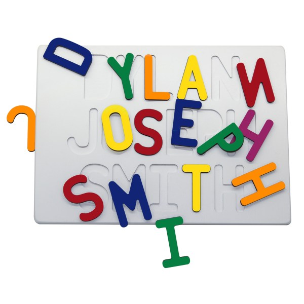 White Painted Base Personalized Three Name Puzzle