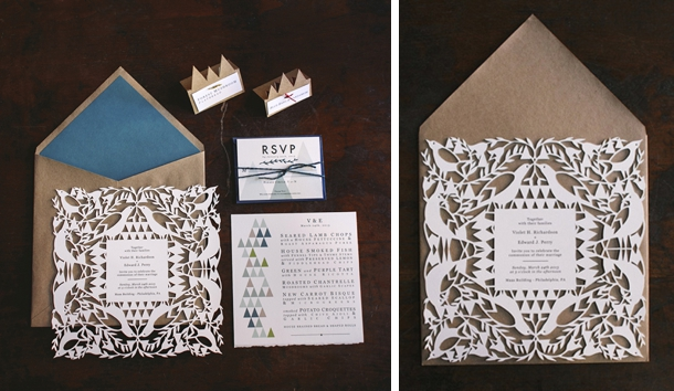 Personalized Wedding Invitation With Laser Cut Pattern Set Of 50 More Colors