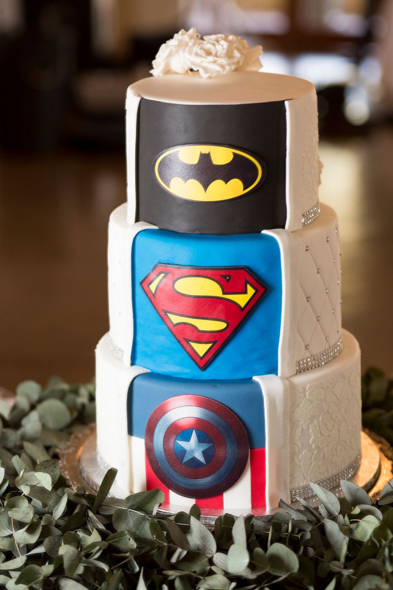 Elegant Superhero Wedding by Daniel West   SouthBound Bride Superhero Surprise Wedding Cake Batman Superman Captain America   Image   Daniel West