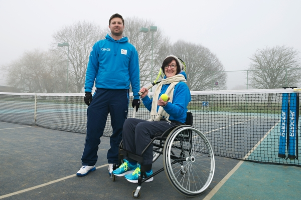 Pic by Samantha Cook Photography. January 24th 2017. JP Morgan Donation of £610.00 to purchase a sports wheelchair for the Wheelchair Tennis at Southbourne Tennis Club, Iford Lane, Bournemouth, Dorset BH6 5NF. Pic: L.T.A Licensed Tennis Coach, Dave Sanger, with the new purchased chair, and a member from the Wheelchair Tennis at Southbourne Tennis Club.