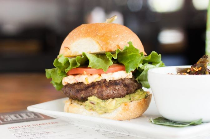 The Shelter Kitchen & Bar's Guacamole and Pimento Cheese Burger
