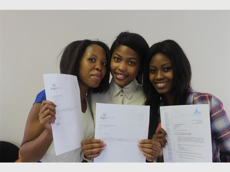 Ready to roll: Preparing for a brighter future after receiving bursaries from the ANCYL for their tuition fees are (from left) Ntokozo Zungu, Nondumiso Sikobi and Lindelwa Ndabankulu, of Port Shepstone.