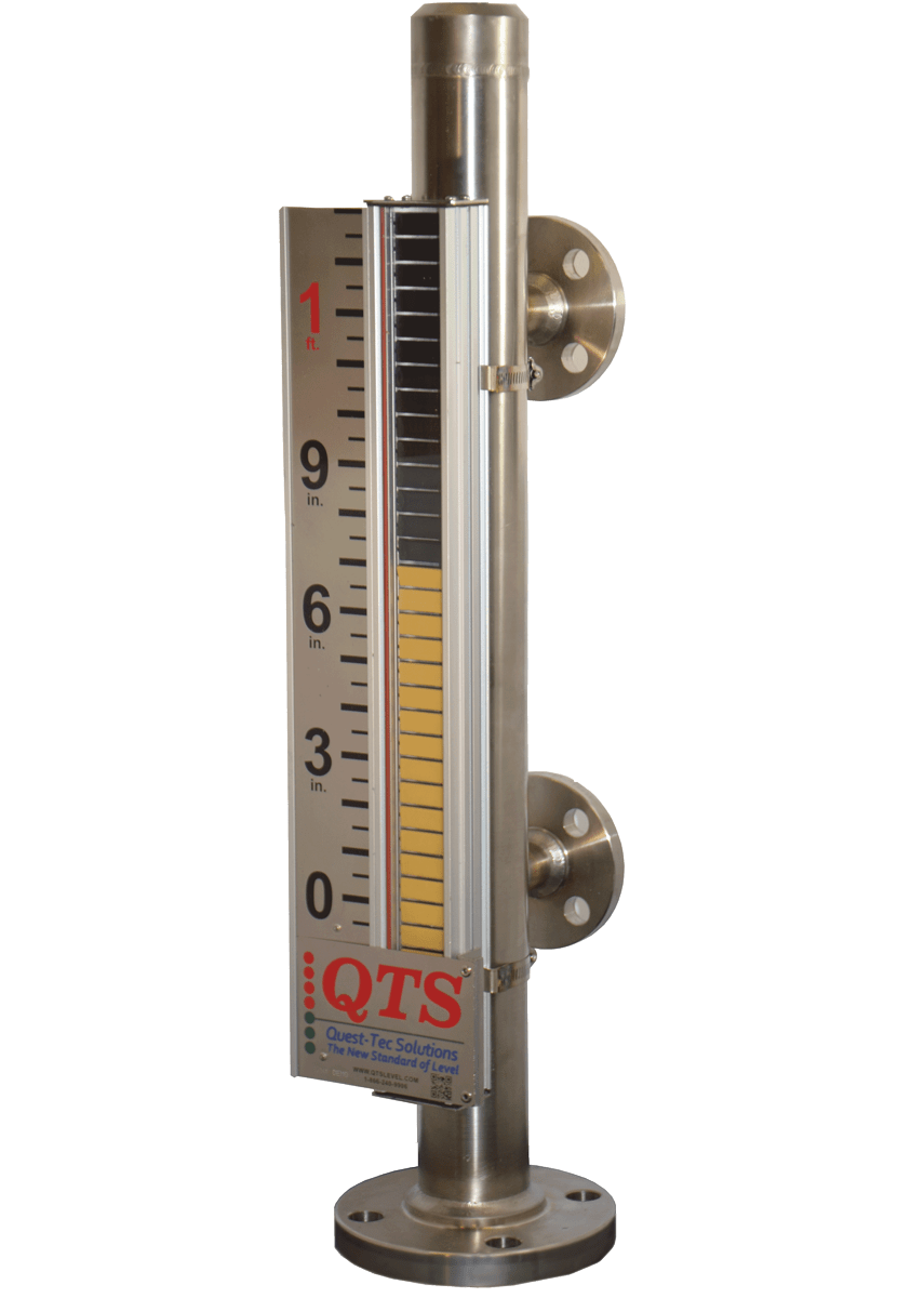 MAGNETIC LEVEL INDICATOR Innovative Flag Design Maximizes Magnetic Field Wide Flags for Enhanced Indicator View Impact Resistant Polycarbonate Indicator Window Corrosion Resistant Moving Parts Wide Variety of Materials Available to ASME 31.1/31.3 Standards