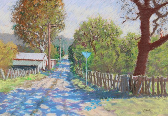 SIMPLY A COUNTRY LANE - framed - full sheet Colourfix - 72 x 92 cm - Art Spectrum Soft Pastels