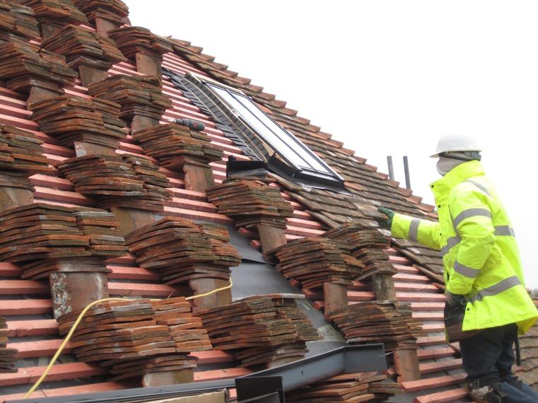 Loading clay peg tiles