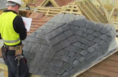 Water testing random-sized slate roof