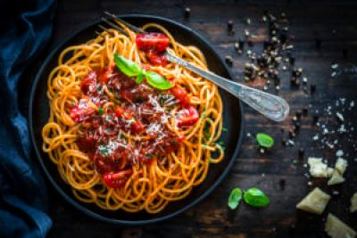 pasta dish high in carbs that may cause heart palpitations