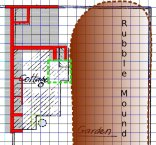 Plan of dig site progress, with next area to be dug in green - 22nd September 2013 - base plan from Selbach's 1922 papers in East Sussex Record Office.